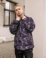 Мужская демисезонная куртка - ветровка с принтами .VIDLIK Map черная