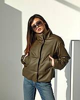 Модна куртка з еко шкіри на підкладці утеплена силіконізованим синтепоном