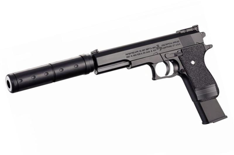 Пістолет на пульках, з глушником, в кульку K2011-K+(Мас)