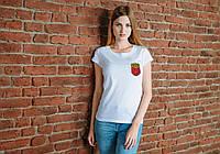 Женская белая футболка, карман с картошкой фри