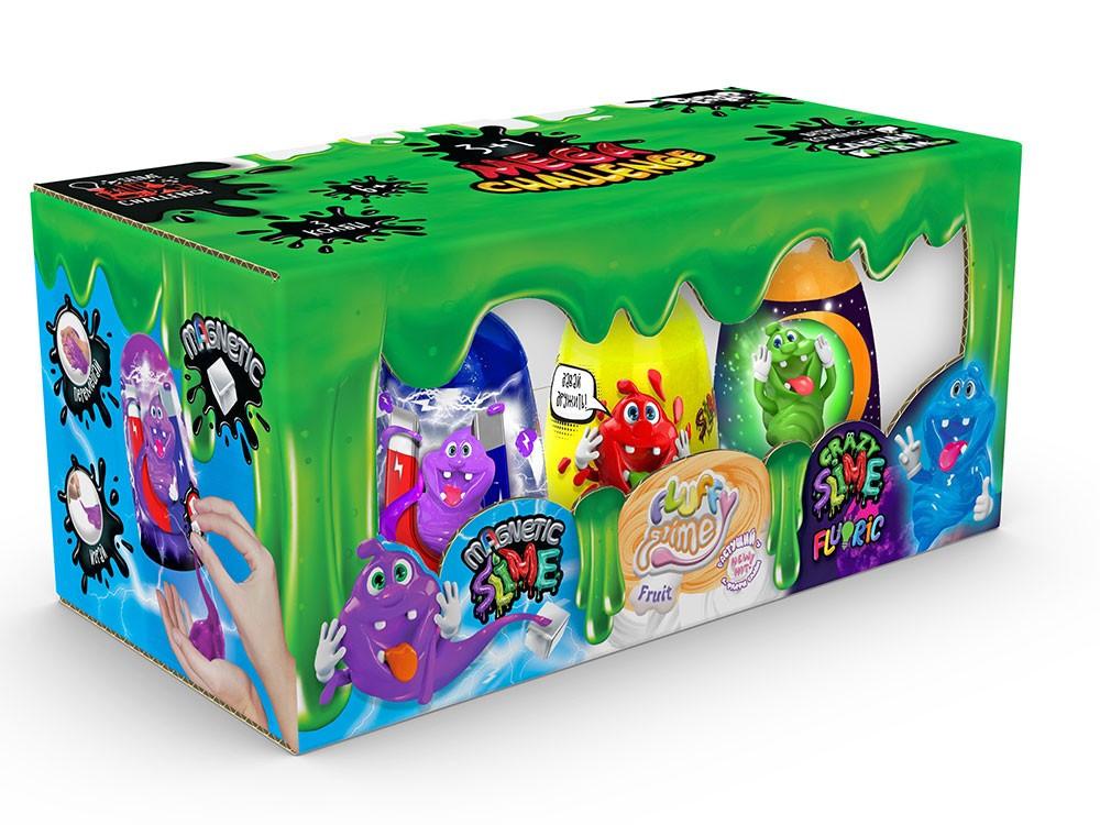 """В'язка маса """"3 в 1 """"Magnetic Slime"""", """"Fluffy Slime"""", """"Crazy Slime Fluoric"""" рос (8)(Пок)"""