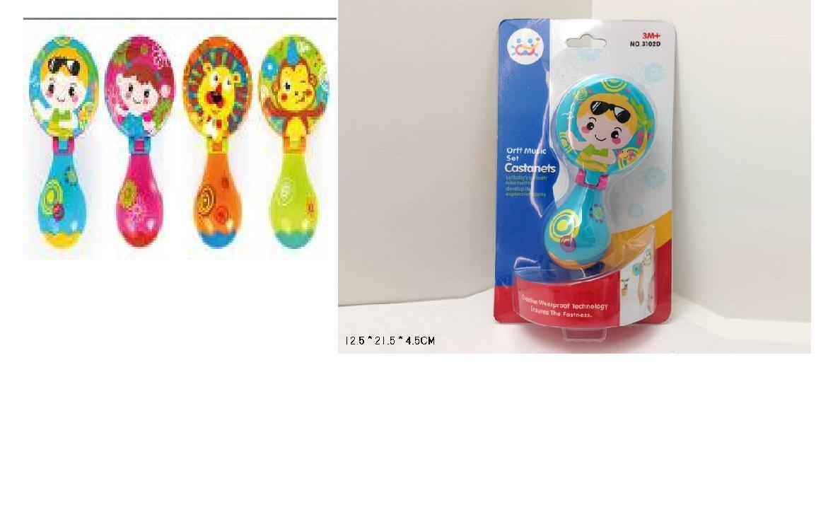 Маракас для малюків 3102D (144шт/2) 4 кольори мікс, на планшетці 12,5*21,5*4,5 см(КИ)