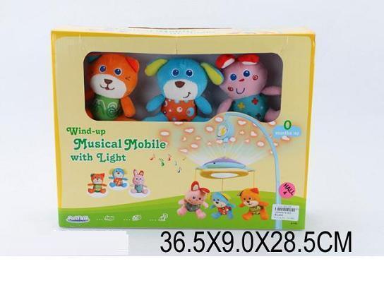 Мобіль 81450 (12шт) механічний,м'які тварини,муз.,проектор,в кор. 36,5*28,5*9см(КИ)