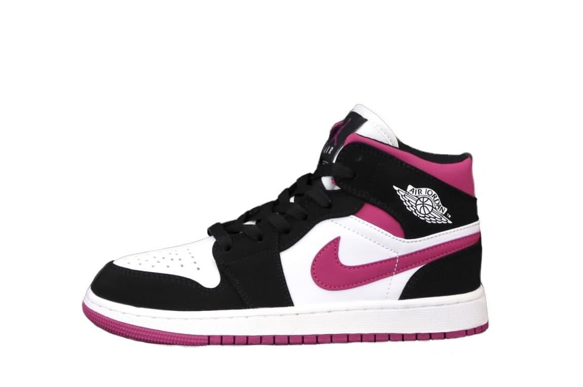 Жіночі кросівки Nike Air Jordan 1 Retro (білий з чорним і рожевим) К12486 красиві весняні кроси