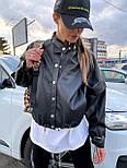 Жіноча куртка з еко-шкіри на затягуваннях, фото 2