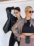 Жіноча куртка з еко-шкіри на затягуваннях, фото 4