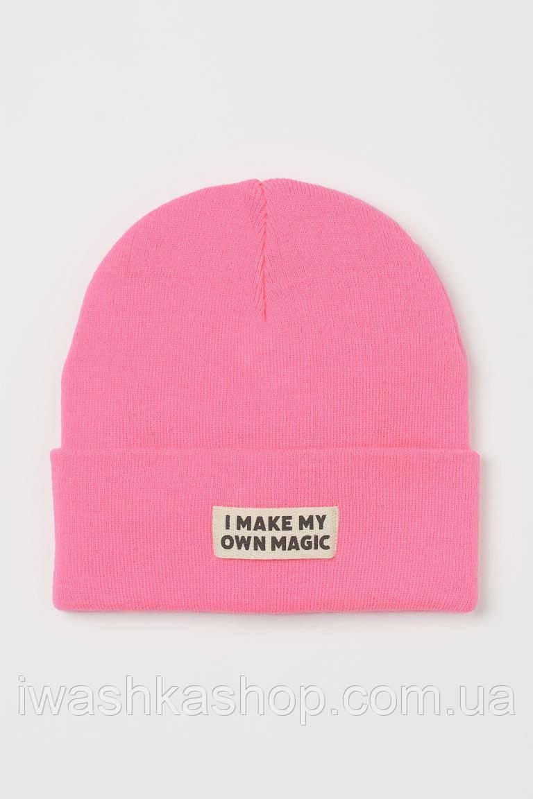 Яркая розовая трикотажная шапка на девочек 8 - 12 лет, р. 134-152, H&M