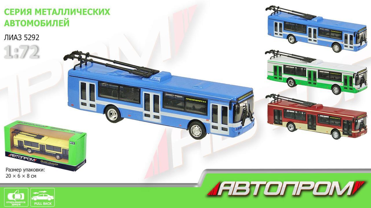 Троллейбус металл 6407ABCD (96шт/4)  в кор.20*5,7*7,7см(КИ)