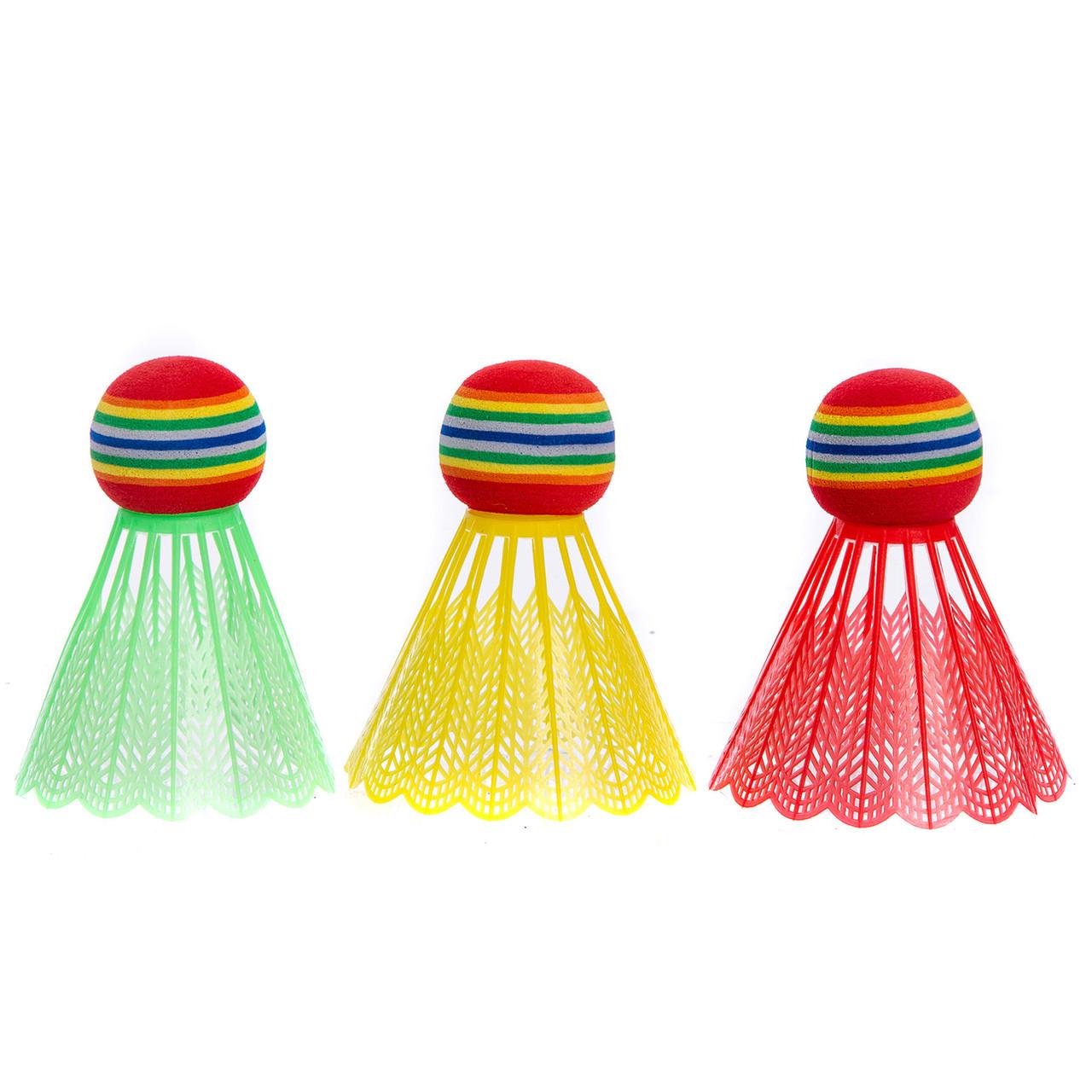 Воланы для бадминтона пластиковые (3шт) в блистере BD-3323 (разноцветный)