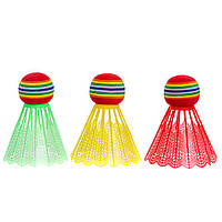 Воланы для бадминтона пластиковые (3шт) в блистере BD-3323 (разноцветный), фото 1