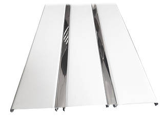 Рейковий алюмінієвий стеля білий з дзеркальною вставкою, комплект