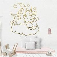 Интерьерная наклейка детская Наклейка на стену обои в детскую декоративная Золотой Единорог 48*43