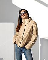 Молодіжна куртка бежева вільного прямого покрою з еко шкіри