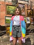 Детский кардиган с капюшоном в полоску, на пуговицах, фото 7