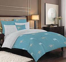 Постельное белье семейное бязь голд люкс голубой и коричневый с абстрактным принтом.