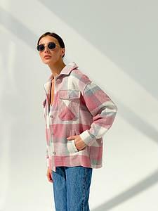 Р. 42-48 Женская кашемировая рубашка - пальто в клетку розовая