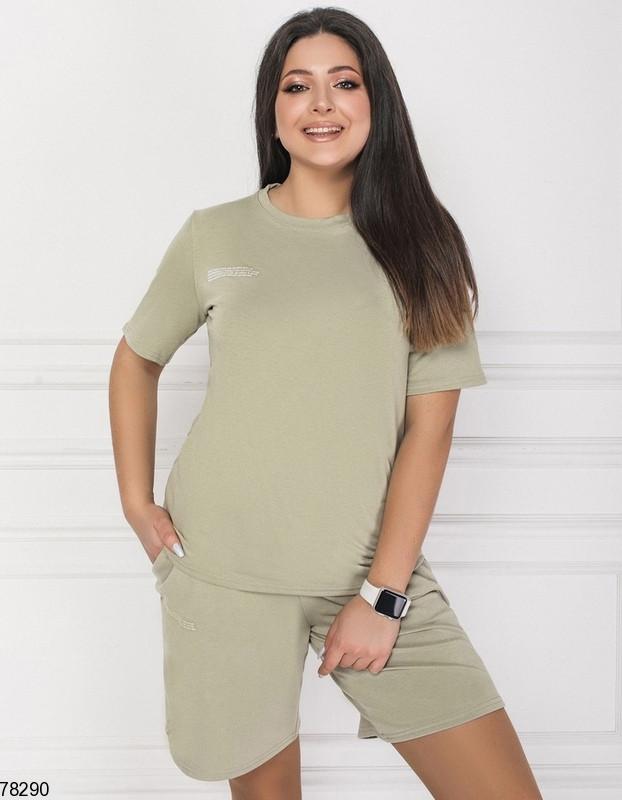 Летний спортивный костюм из футболки и шорт с 48 по 58 размер