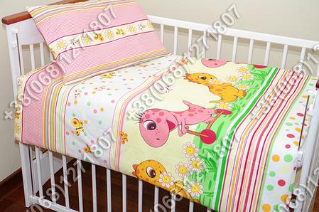 Детское постельное белье и защита (бортик) в детскую кроватку (дино розовый), фото 2