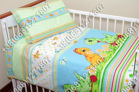 Детское постельное белье и защита (бортик) в детскую кроватку (дино салатовый), фото 2