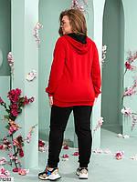 Спортивний костюм двійка з яскравою червоною кофтою з капюшоном з 48 до 54 розмір, фото 2