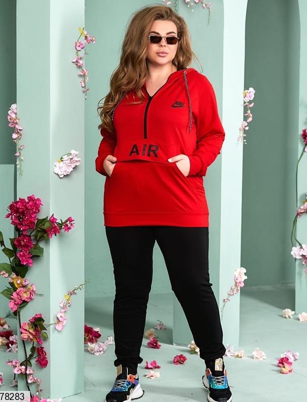 Спортивний костюм двійка з яскравою червоною кофтою з капюшоном з 48 до 54 розмір