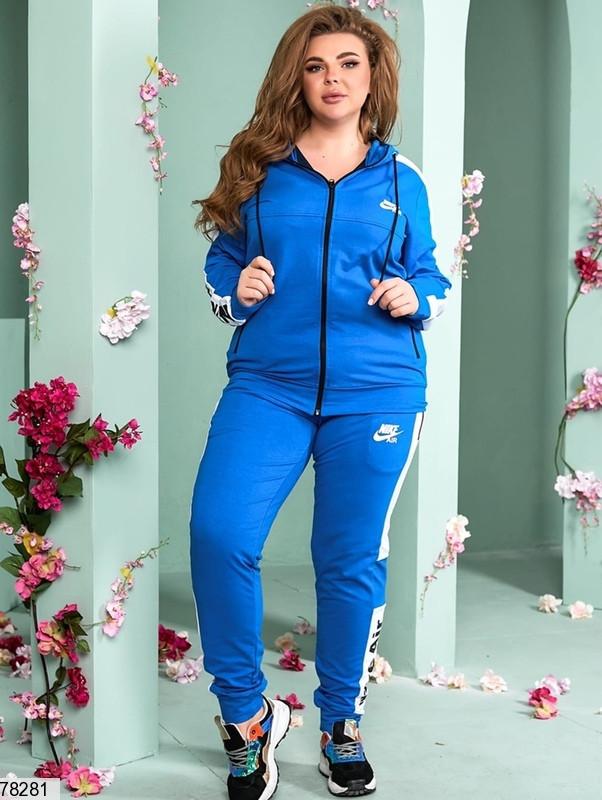 Женский спортивный костюм с широкими контрастными лампасами с 48 по 54 размер