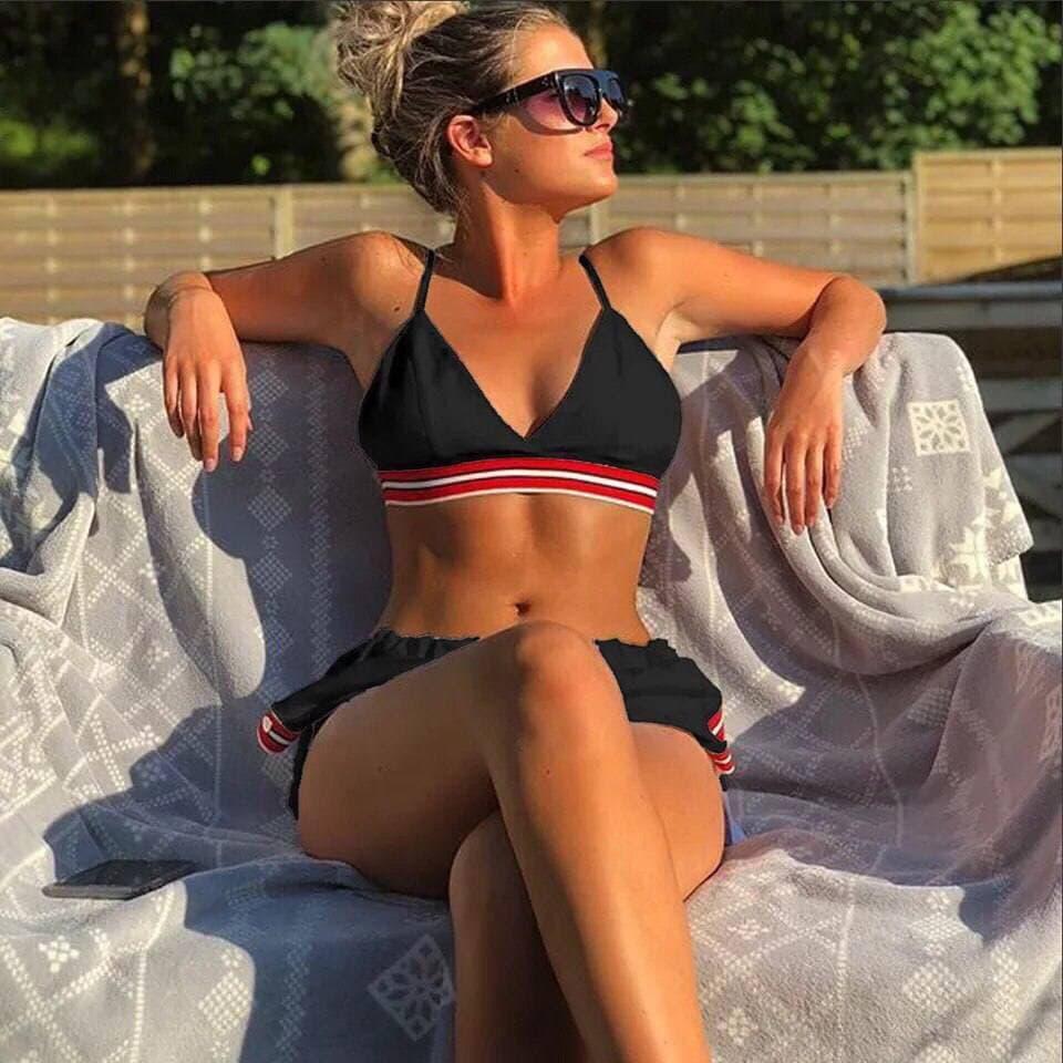 Женский комплект раздельный купальник и шорты Must summer have black