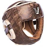 Распродажа! Кожаный шлем боксерский закрытый VELO C полной защитой для бокса Коричневый (VL-2219) L, фото 2