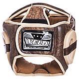 Распродажа! Кожаный шлем боксерский закрытый VELO C полной защитой для бокса Коричневый (VL-2219) L, фото 3