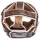 Распродажа! Кожаный шлем боксерский закрытый VELO C полной защитой для бокса Коричневый (VL-2219) L, фото 5