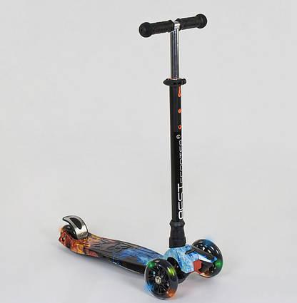 Самокат Scooter Best Maxi АБСТРАКЦІЯ (з регулюванням ручки і світяться колесами) арт. 1314 (24665)