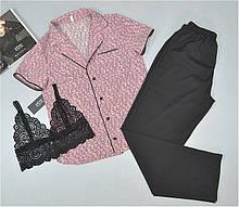 Пижама тройка Este рубашка штаны и кружевной топ 228-1.