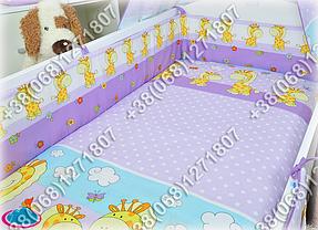 Детское постельное белье и защита (бортик) в детскую кроватку (жираф фиолетовый), фото 3