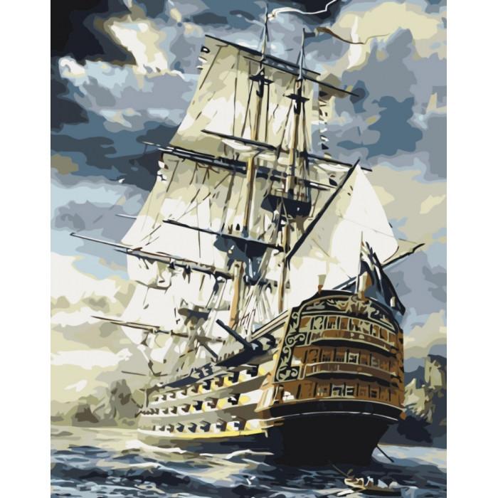 """Картина за номерами Морський пейзаж """"Лінкор"""" 40 * 50см KHO2710"""
