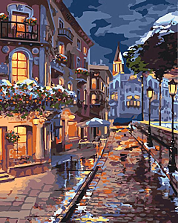 """Картина за номерами Міський пейзаж """"Зимовий містечко"""" 40 * 50см KHO3542"""