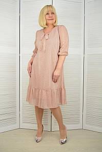 Платье шифон розовый горошек - Модель 3.190