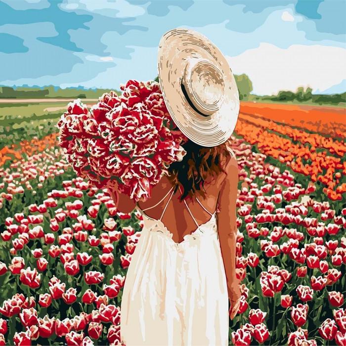 """Картина за номерами """"Оберемок тюльпанів"""" 40 * 40см KHO4725"""