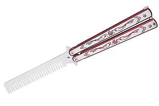 Складная расческа-бабочка безопасная 128-1, учебный детский тренировочный нож балисонг для ребёнка, не острый