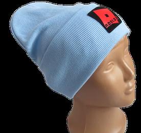 Молодежная весенняя хлопковая шапка Fero с логотипом, голубая