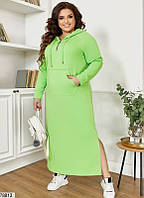 Р. 48-66 Женское длинное платье худи из двунитки больших размеров