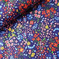 Ситец с полевыми цветами на синем, ш. 95 см