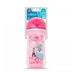 Чашка-термос Dr. Brown's с твердым носиком 300 мл розовая