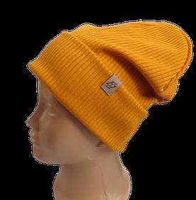 Молодежная весенняя однотонная шапка с отворотом Fero, желтая