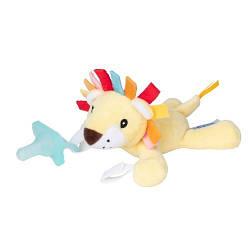 Цельная силиконовая пустышка, цвет аква, в комплекте с игрушкой Львенок , 0–12 мес., 1 шт. в упаковке