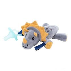 Цельная силиконовая пустышка, цвет аква, в комплекте с игрушкой Динозавр, 0–12 мес., 1 шт. в упаковке