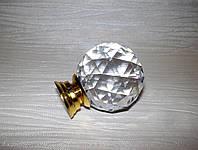 Ручка шарик стекло 40мм золотой