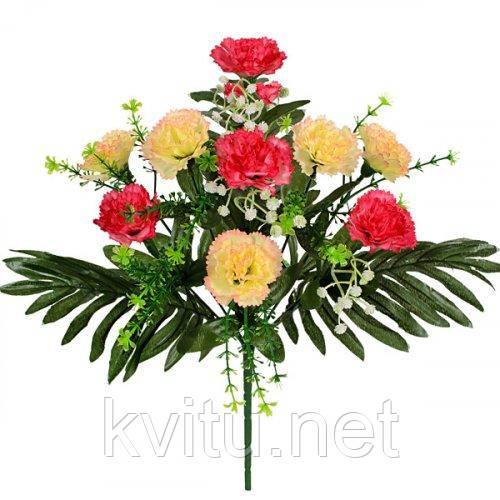 Искусственные цветы букет гвоздики на пальмовых листьях, 41см