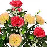Искусственные цветы букет гвоздики на пальмовых листьях, 41см, фото 2