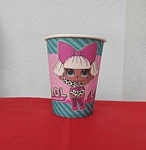 Набір паперових стаканів принт ляльки Лол 250мл 5шт.