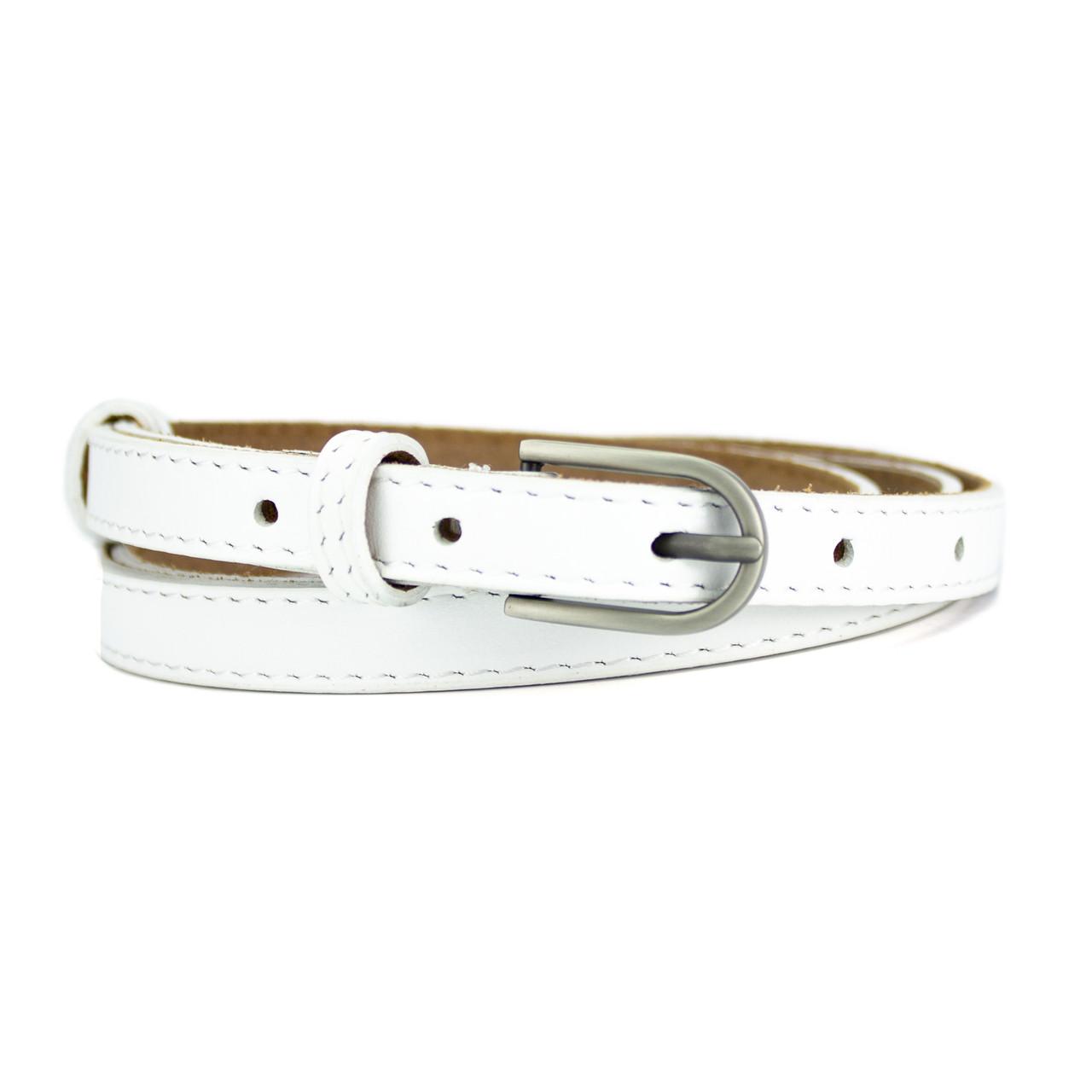 Женский кожаный ремень узкий белый PS-1510 white (125 см)